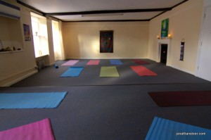 warmly lit yoga glow studio Beccles