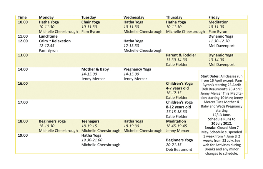 Yoga Glow Studio Beccles Yoga Class Schedule