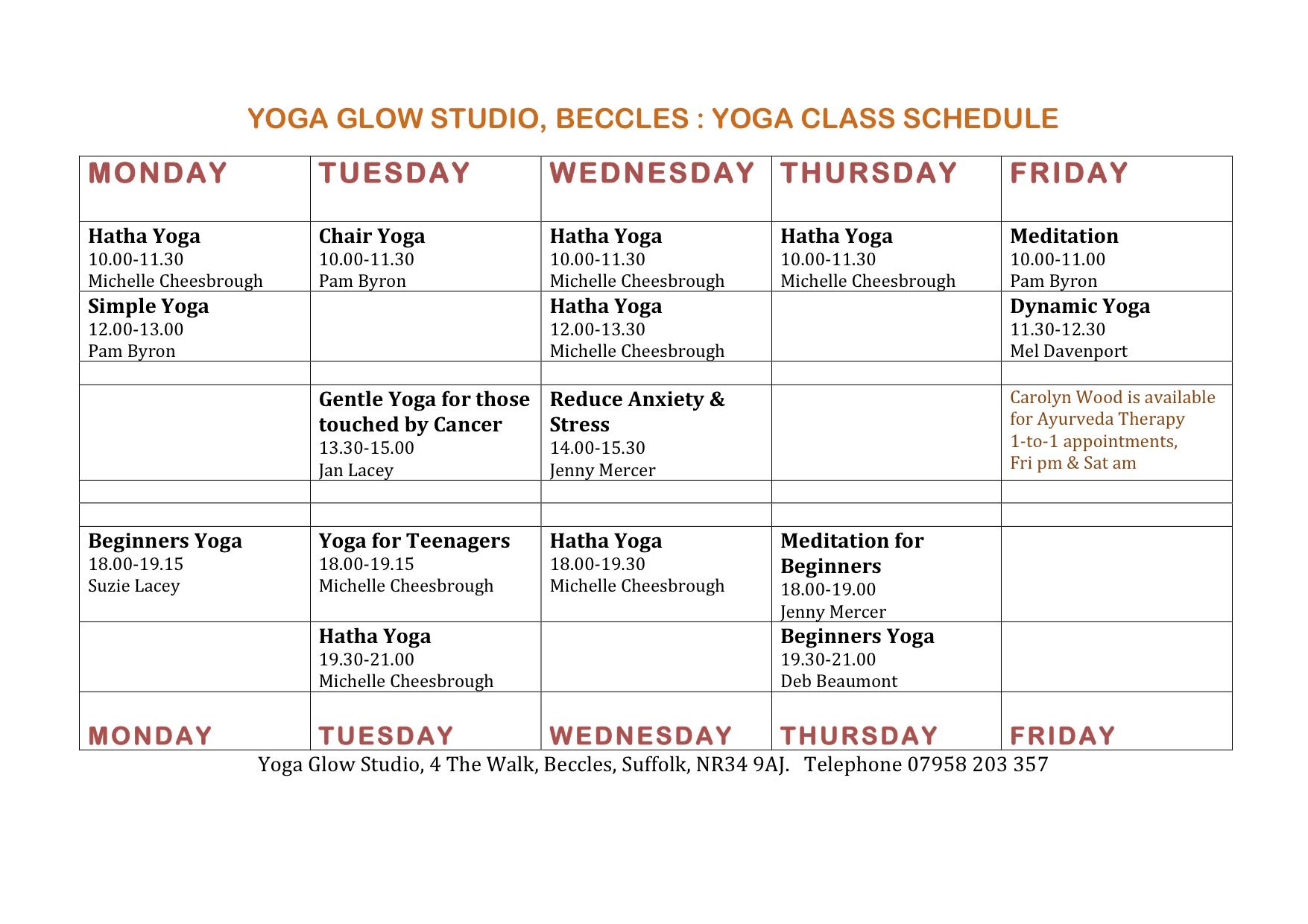 Yoga Classes in Yoga Glow Studio Schedule Autumn 2012